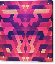 Abstract Symertric Geometric Triangle Texture Pattern Design In Diabolic Magnet Future Red Acrylic Print by Philipp Rietz