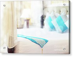 Acrylic Print featuring the photograph Abstract Thai Style Bedroom by Atiketta Sangasaeng
