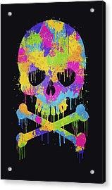 Abstract Trendy Graffiti Watercolor Skull  Acrylic Print by Philipp Rietz