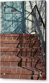 abstract urban photography - Blue Door with Red Bricks Acrylic Print