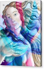 Acrylic Print featuring the painting Abstract Venus Birth 6 by J- J- Espinoza