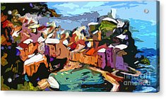 Abstract Vernazza Italy Cinque Terre Acrylic Print by Ginette Callaway