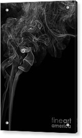 Abstract Vertical Monochrome White Mood Colored Smoke Wall Art 05 Acrylic Print by Alexandra K