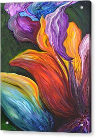 Abstract Vibrant Flowers Acrylic Print