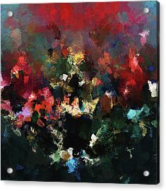 Acrylic Print featuring the painting Abstract Wall Art In Dark Colors by Ayse Deniz