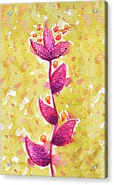 Abstract Watercolor Flower In Purple And Green Acrylic Print