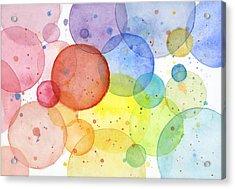 Abstract Watercolor Rainbow Circles Acrylic Print
