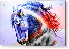 Acrylic Print featuring the painting Abstract White Horse 44 by J- J- Espinoza