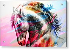 Acrylic Print featuring the painting Abstract White Horse 45 by J- J- Espinoza