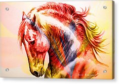 Acrylic Print featuring the painting Abstract White Horse 46 by J- J- Espinoza