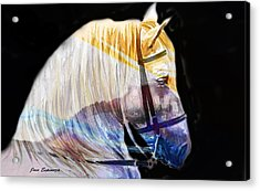 Acrylic Print featuring the painting Abstract White Horse 50 by J- J- Espinoza