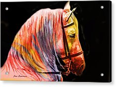 Acrylic Print featuring the painting Abstract White Horse 52 by J- J- Espinoza