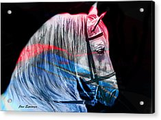 Acrylic Print featuring the painting Abstract White Horse 53 by J- J- Espinoza