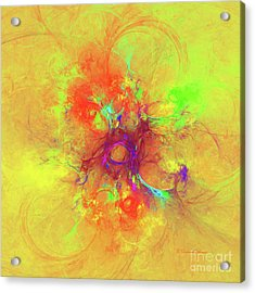 Acrylic Print featuring the digital art Abstract With Yellow by Deborah Benoit