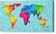 Abstract World Map Colorful 50 - Da Acrylic Print by Leonardo Digenio
