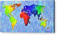 Abstract World Map Colorful 53 - Pa Acrylic Print by Leonardo Digenio