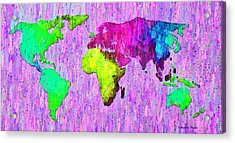 Abstract World Map Colorful 54 - Da Acrylic Print by Leonardo Digenio