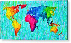 Abstract World Map Colorful 57 - Pa Acrylic Print by Leonardo Digenio