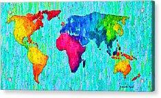 Abstract World Map Colorful 57 - Pa Acrylic Print by Leonardo Digenio