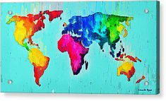 Abstract World Map - Da Acrylic Print
