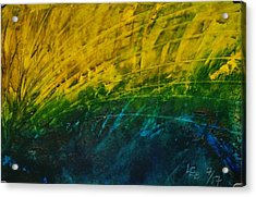 Abstract Yellow, Green With Dark Blue.   Acrylic Print