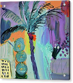 Abtract, Landscape With Palm Tree In California Acrylic Print by Amara Dacer