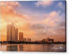 Abu Dhabi Cityscape And Skyline At A Warm Sunrise, Abudhabi, Uae Acrylic Print