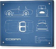 Ac Cobra Blueprint Acrylic Print by Mark Rogan