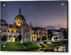Academy Of Fine Arts, Sarajevo, Bosnia And Herzegovina At The Night Time Acrylic Print by Elenarts - Elena Duvernay photo