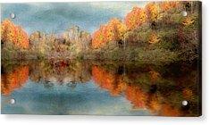 Accross The Lake In Autumn Acrylic Print by Tom Mc Nemar