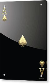 Ace Of Spades In Gold On Black   Acrylic Print