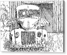 Aceo No 4 Old Ford Truck And Barn Pen Acrylic Print