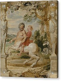Achilles Educated By The Centaur Chiron Acrylic Print by Peter Paul Rubens