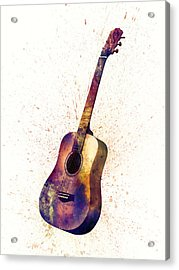 Acoustic Guitar Abstract Watercolor Acrylic Print by Michael Tompsett
