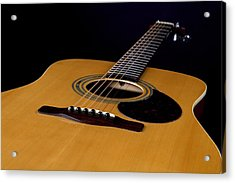Acoustic Guitar  Black Acrylic Print