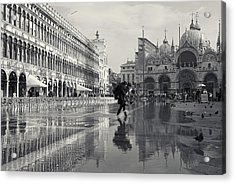 Acrylic Print featuring the photograph Acqua Alta, Piazza San Marco, Venice, Italy by Richard Goodrich