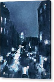 Across 23rd Street Nyc High Line At Night Acrylic Print by Beverly Brown
