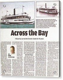 Acrylic Print featuring the painting Toronto Sun Article Across The Bay by Kenneth M Kirsch