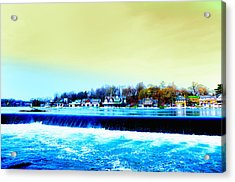 Across The Dam To Boathouse Row. Acrylic Print by Bill Cannon