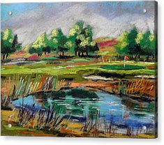 Acrylic Print featuring the painting Across The Water Hazard by John Williams