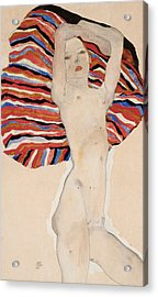 Act Against Colored Material Acrylic Print by Egon Schiele