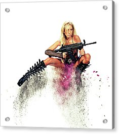 Action Girl Acrylic Print by Stephen Smith