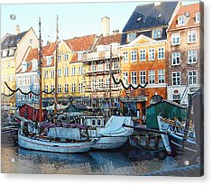 Activity On Nyhavn Harbour Acrylic Print by Dorothy Berry-Lound