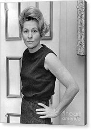 Actress, Joan Fontaine, Poses For The Ny Post. 1962 Acrylic Print by William Jacobellis