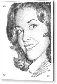 Actress Myrna Fahey Closeup Pencil Portrait Acrylic Print by Mike Theuer