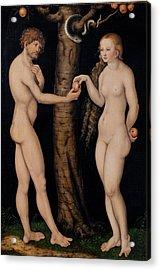 Adam And Eve In The Garden Of Eden Acrylic Print by The Elder Lucas Cranach