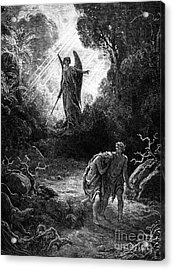 Adam And Eve Leaving Paradise Acrylic Print by Gustave Dore