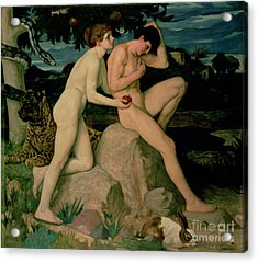 Adam And Eve  Acrylic Print by William Strang