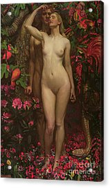 Adam And Eve With The Snake Acrylic Print