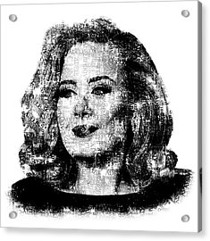 Adele Text Portrait - Typographic Face Poster With The Lyrics For The Song Hello Acrylic Print